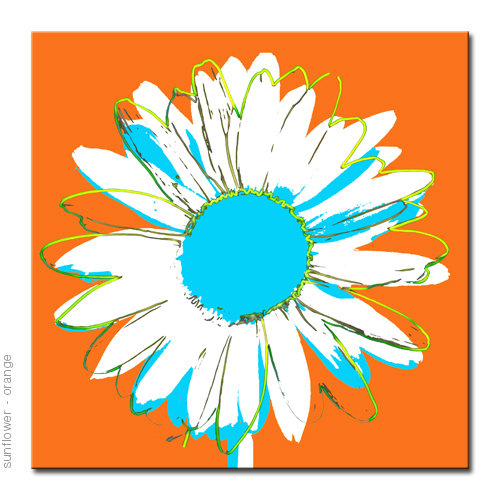 pop bright colorful sunflower design,  canvas art print